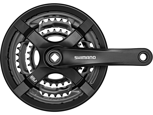 Shimano FC-TY501 Pédalier 6/7/8 vitesses 48-38-28 dents avec carter de protection, black